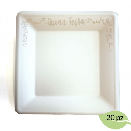 "PIATTO ""BUONA FESTA"" GRANDE 26x26 cm linea party"